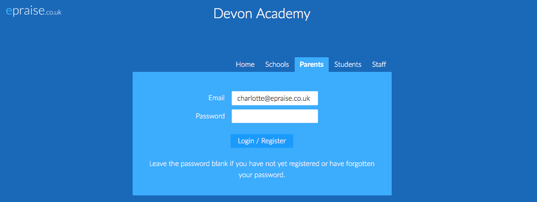 Parent login tab with email address entered